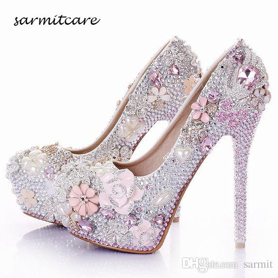 W015 Handmade Full Rhinestones Pearl Flowers Covered Platform High Heels  White Pink Wedding Shoes Customized Bridal Shoes Cinderella Shoes Diamante  Bridal ... 44d1c0c1aa2a