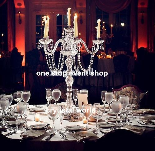 아름 다운 키 큰 금속 아크릴 5 실버 팔 candelabra 결혼식에 대 한 결혼식 중앙 장식 결혼식 파티