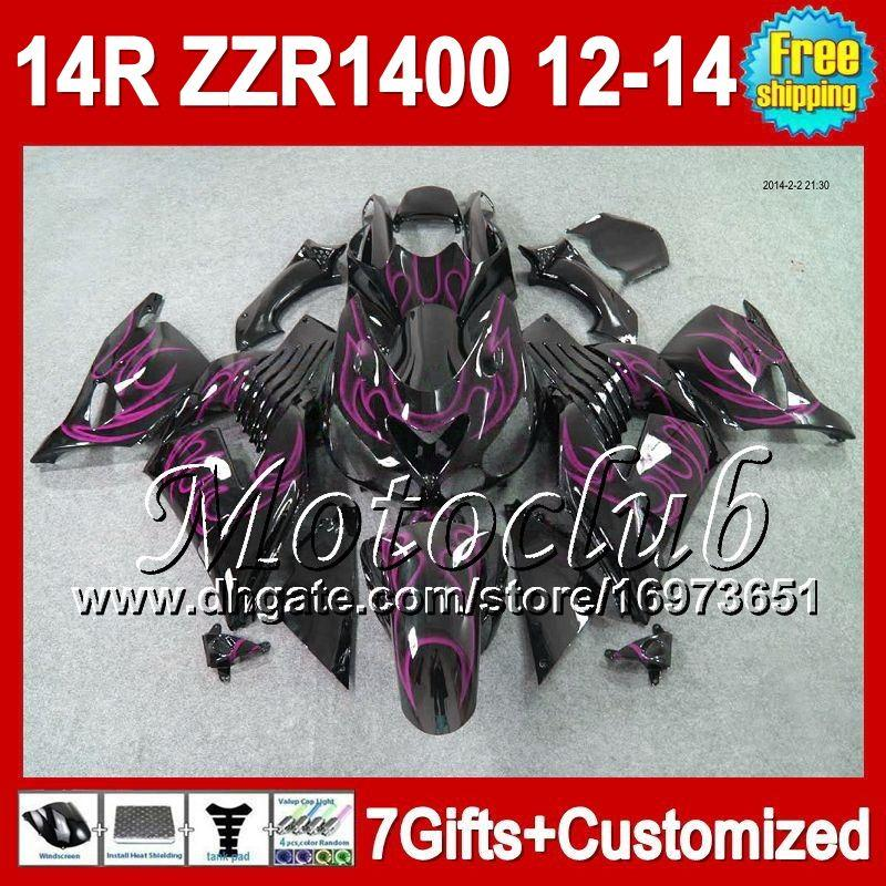 Llamas de color rosa 7 regalos para KAWASAKI 12 13 12 13 ZZR1400 2C5151 ZZR-1400 2012 2013 2012 2013 ZZR 1400 NINJA ZX14R 12-13 Fairing Pink negro