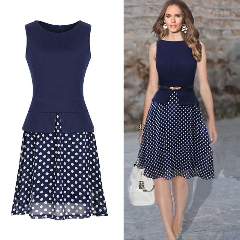 Best Quality Fashion Women Casual Dress Polka Dot Print Chiffon ...