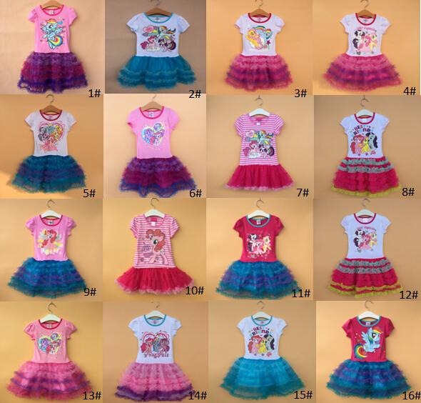 b9af5fa41 Fashion New Girls My Little Pony Tutu Dress Children Cartoon Dress ...