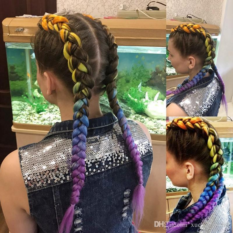 Ombre Zwei Töne Mix Farben Synthetische Jumbo Flechten Haarverlängerungen 24 zoll Kanekalon Flechten Haar Häkeln Flechten Haar Groß Großhandelspreis