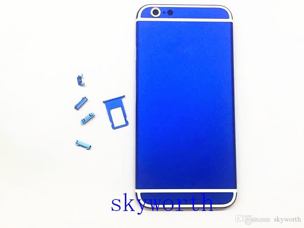 Marka Yeni iPhone 6 6 S 6 S + artı 4.7 5.5 pil Alüminyum Arka Konut Kapak değiştirme Yan Düğmeler Ile SIM Kart Tepsi logo ile 12 renkler
