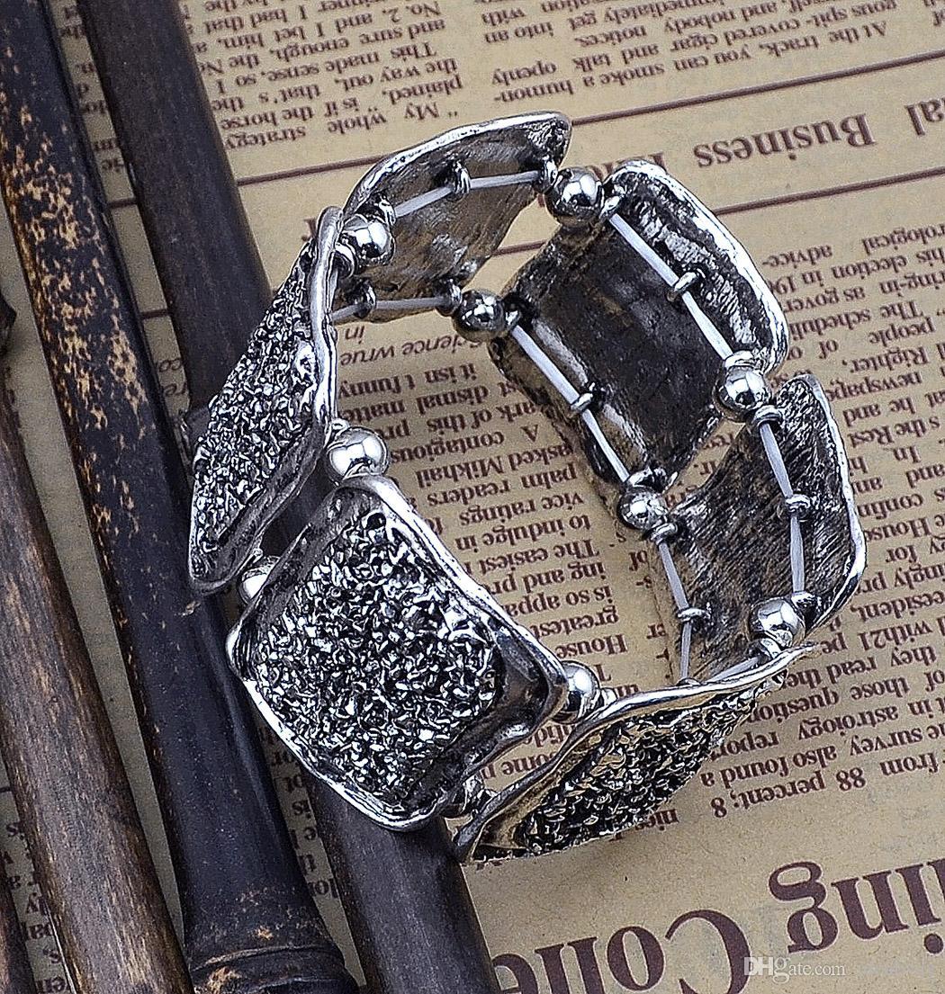 novas pulseiras ajustáveis do vintage de prata liga de metal forma geometria irregular composição de borracha para mulheres dos homens jóia
