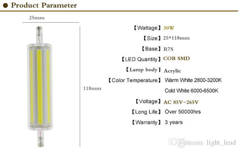 R7S LED se enciende AC85V-265V 15W 30W regulable COB bombillas led blanco cálido reemplazo de luz blanca Proyector halógeno