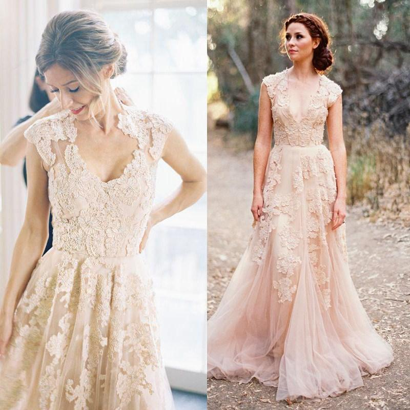 Discount reem acra vintage blush pink dusty rose appliqued for Rose pink wedding dress