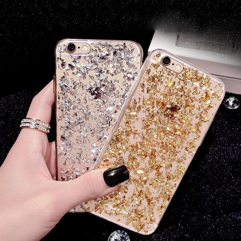 Gold Bling Paillette Sequin Skin Clear Soft TPU Case For iPhone 6 4.7 6S Ultra Slim Rubber Back Cover For iPhone 6 Plus/ 6S Plus