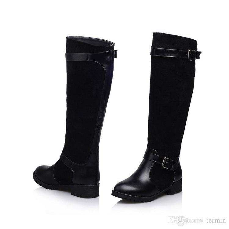 46c823fd89c High Boots Tube Sleeve Round Head with Women Chunky Heel for Winter ...