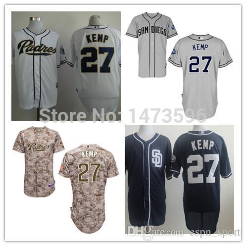 abcc268f6b0 2016 New 2015 San Diego Padres 27 Matt Kemp Men s Baseball Jersey ...
