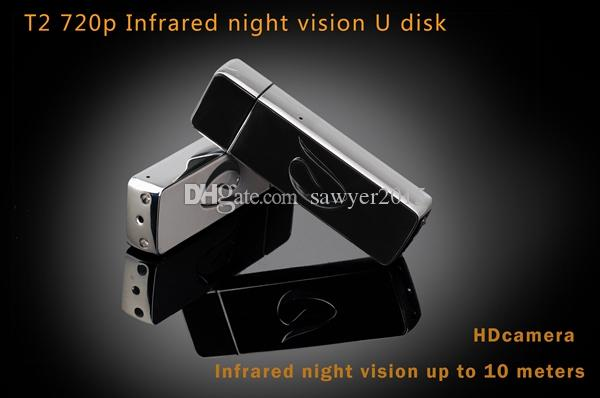 T2 Night Vision USB DISK mini Camera 720P HD usb disk Video recorder portable USB Flash Drive pinhole Camera support TF card