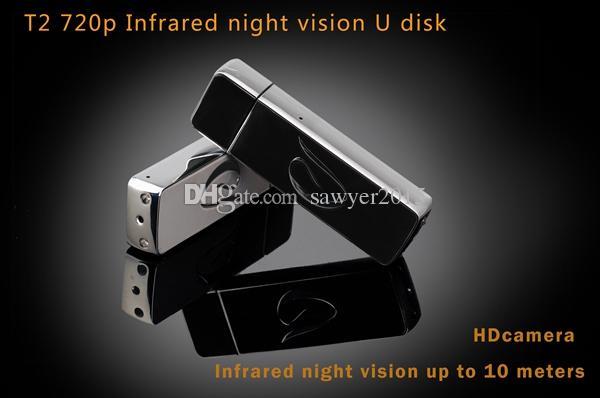 T2 Visión Nocturna DISCO USB mini Cámara 720P HD disco usb Grabadora de video Unidad USB Flash portátil agujero de cámara Soporte de tarjeta TF