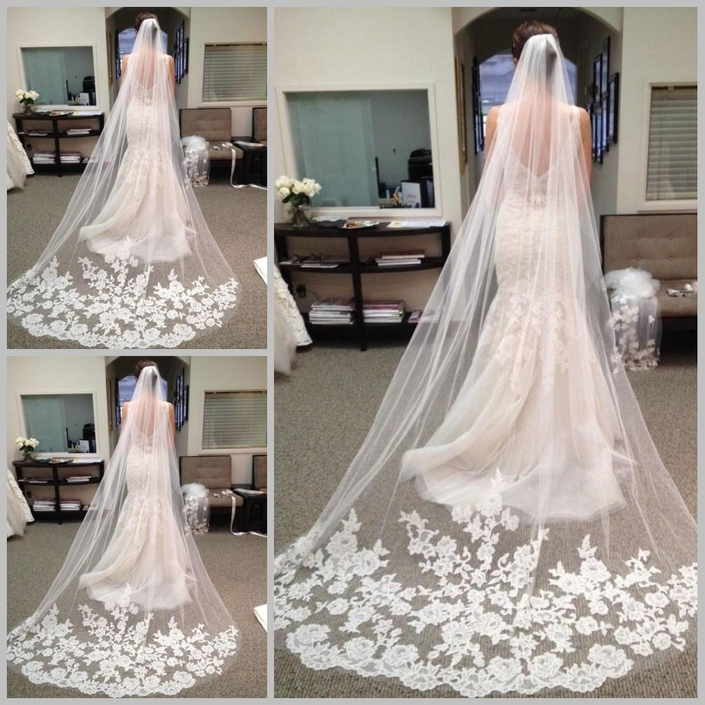 Hot Sale Fast Delivery Wedding Veils Long Elegent Veil With Lace Bridal Gown Veil Beauty Bride One Layer Long In Stock Fast Shipping