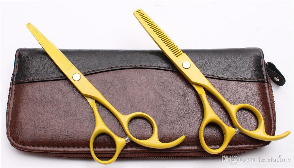"C1023 6"" 17.5cm Japan 440C Purple Dragon Laser Professional Human Hair Scissors Barbers' Scissors Cutting Thinning Shears Salon Style Tools"