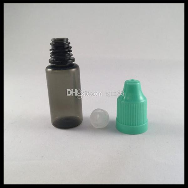 10ml Black Plastic Bottles For E Cig Liquid With Child Proof Cap And Needle Tip Dropper Empty E Liquid Bottles
