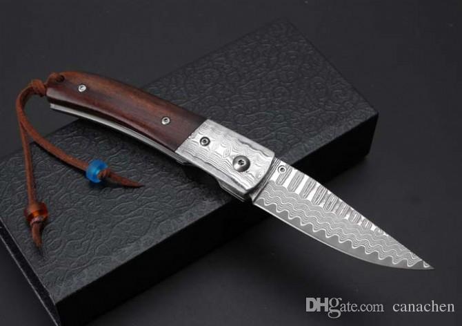 High-end Thomas Damascus folding knife Damas steel head and desert iron wood handle Xmas gift knife pocket EDC tool