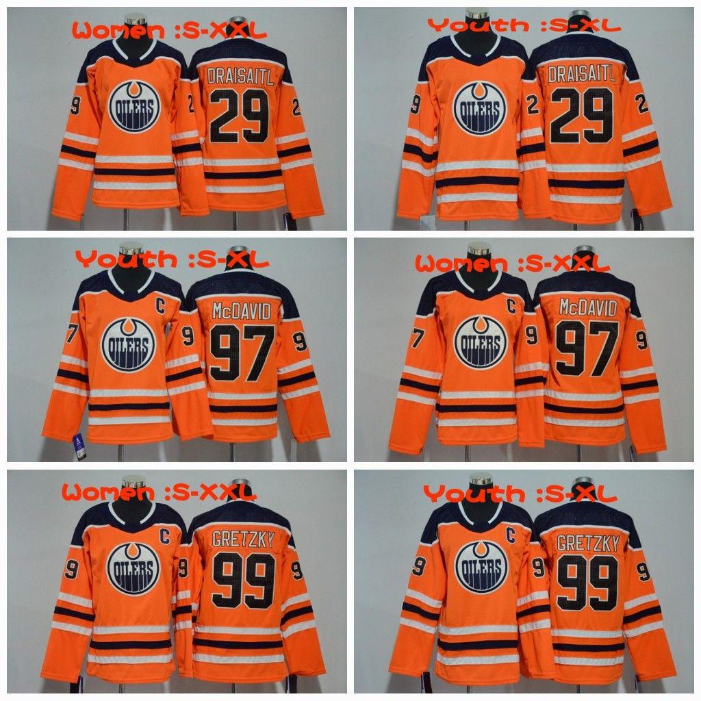 2019  29 Leon Draisaitl Jersey 2017 2018 Season Edmonton Oilers Women Youth   97 Connor McDavid  99 Wayne Gretzky Stiched Hockey Jerseys From  Huohuo2014 3b72e9c4a