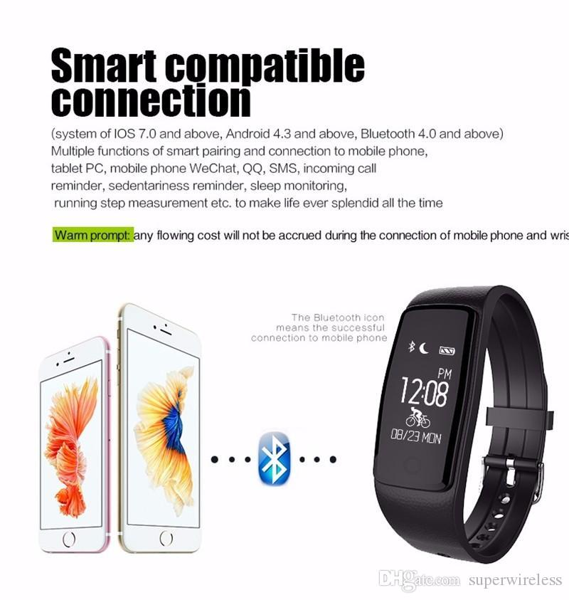 S1 Smart watch Band IP67 Waterproof Heart Rate Monitor Bluetooth Smart Bracelet Fitness Tracker Wristband for samsung iphone