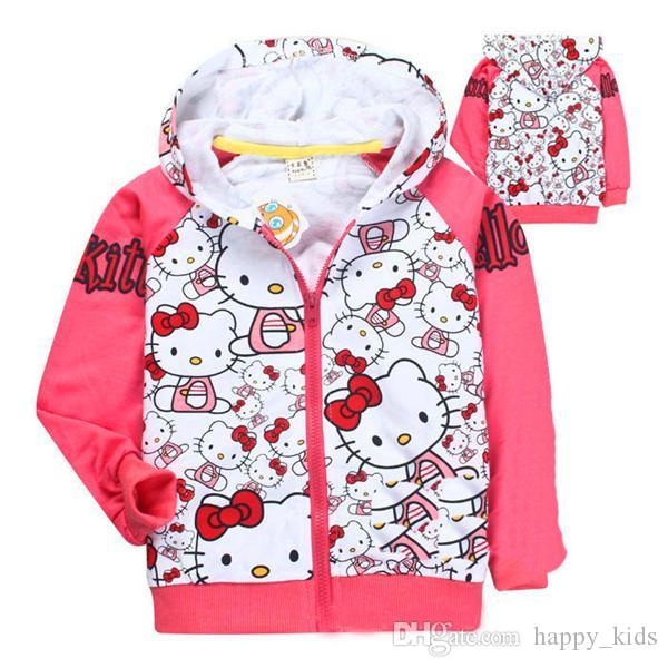 5938b70e586d Kids Clothes Cartoon Girl Winter Jacket Baby Coats Coat Hello Kitty Pink  White Girls Child kids Jacket Hoodie Pre Owned Girls Clothing