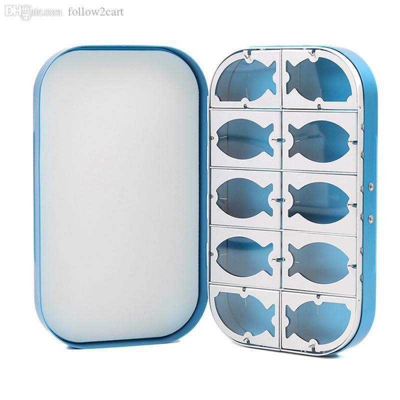 10 compartimentos de aluminio cajas de pesca con mosca 154 * 90 * 27 mm carpa pesca ganchos señuelos cajas de almacenamiento azul del ejército verde