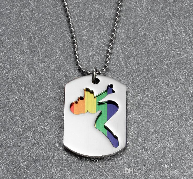 316l stainless steel Lesbian Pride pendants Necklace for women jewelry fashion rainbow pendants