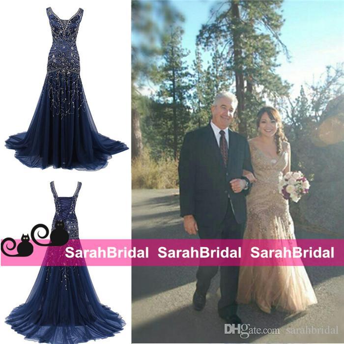 Partido Marinha das Trevas Árabe Prom Vestidos Sparkly Rhinestone Maxi Espartilho e Tule Pageant Vestidos árabe Formal Wear