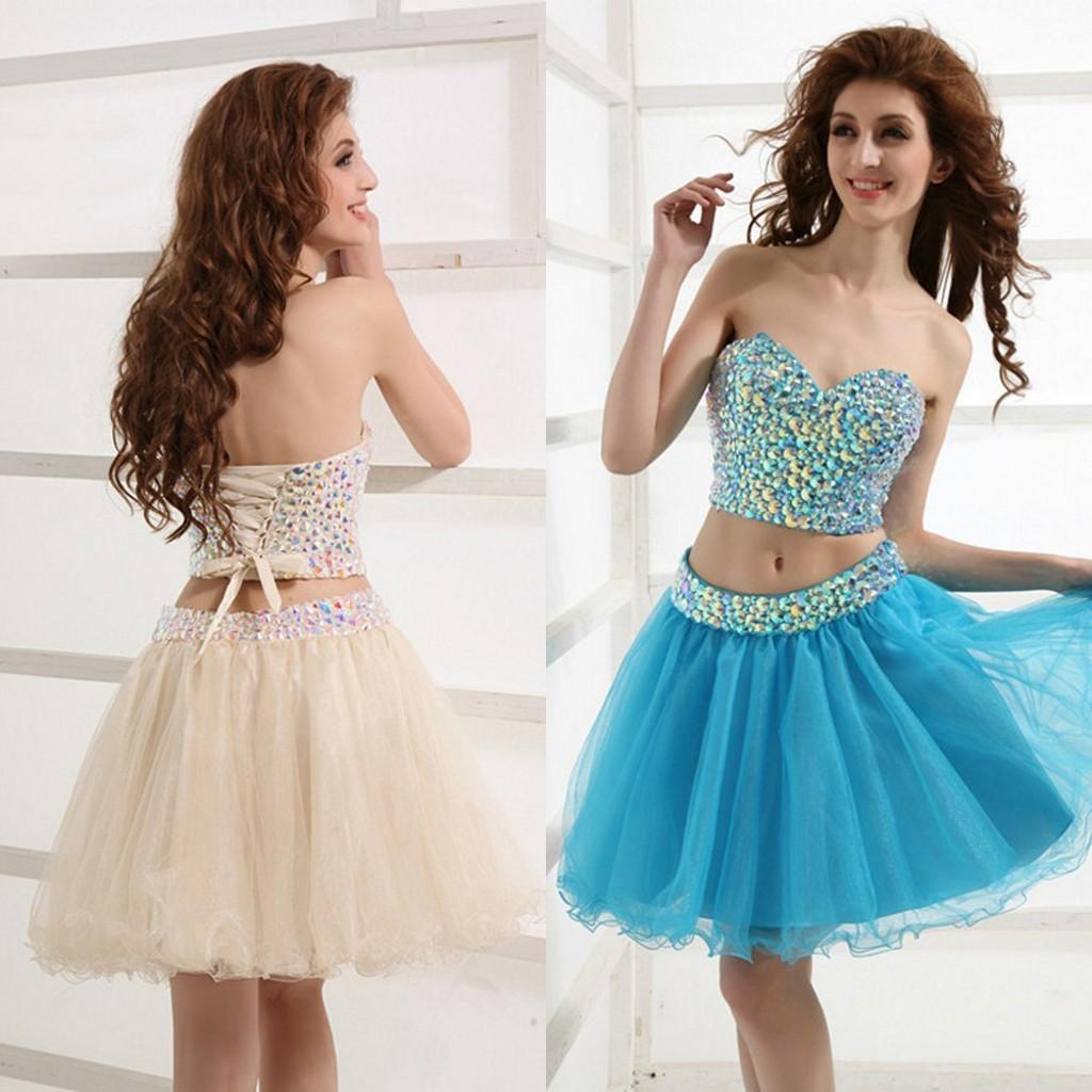 2015 New Arrival Champagne Prom Dress Short Sweetheart Shinny ...