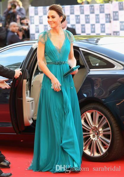 Custom Kate Middleton Celebrity Dresses by Jenny Packham V Neck Cap Sleeve Chiffon Lace Evening Gowns 2013 Evening Dresses Red Carpet Gowns