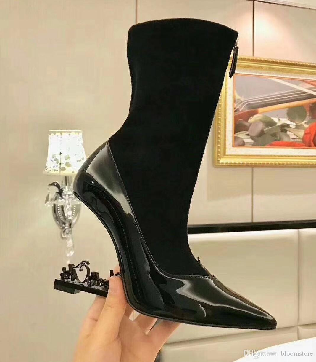 2c148faa084e Sexy Pointed Toe Patent Leather Ankle Boots Women Unique Colorful Heels  Pumps Top Quality Black Red Silver Lady Dress Wedding Shoes Footwear Fringe  Boots ...