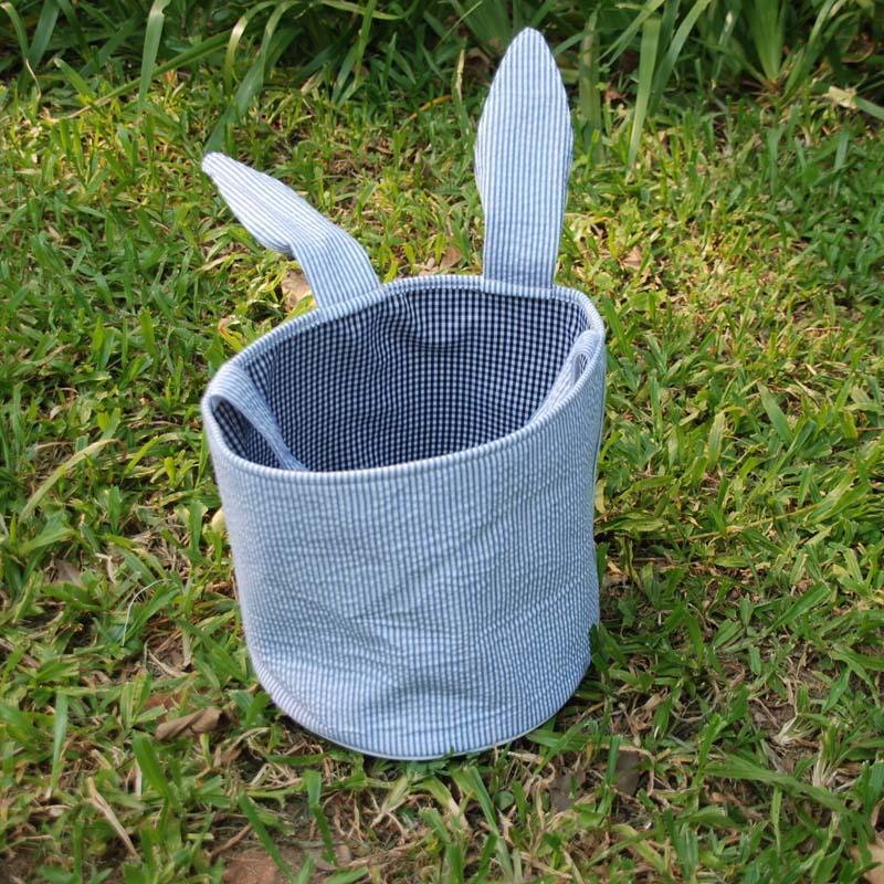 토끼 귀 양동이 도매 공백 Seersucker 토끼 귀 귀여운 부활절 양동이 페덱스 DOM106234 를 통해 무료 배송