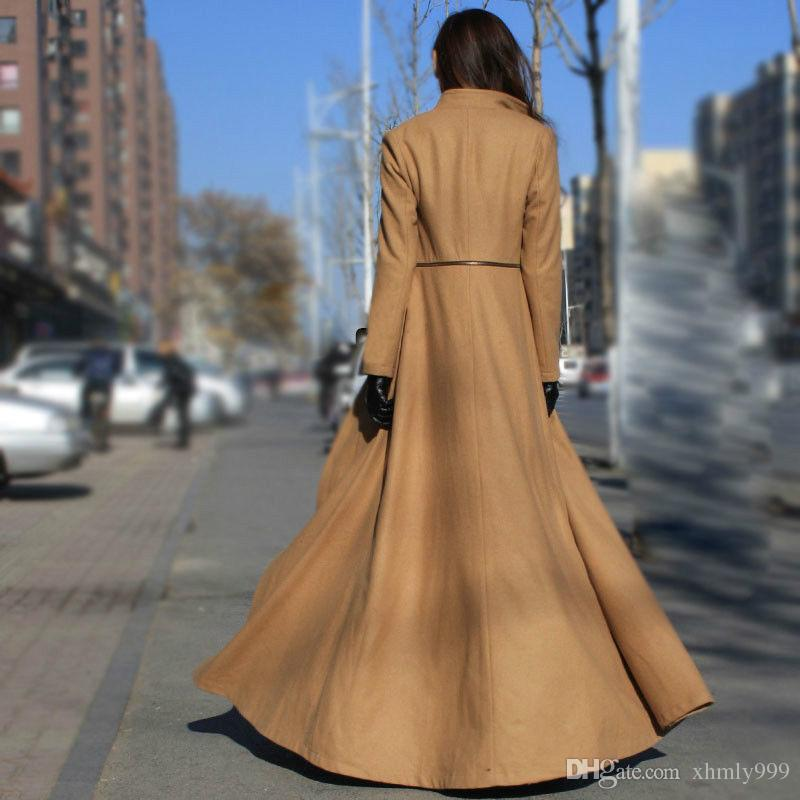 2018 Big Swing Long Wool Coat Dress Maxi Coats Winter Zipper ...