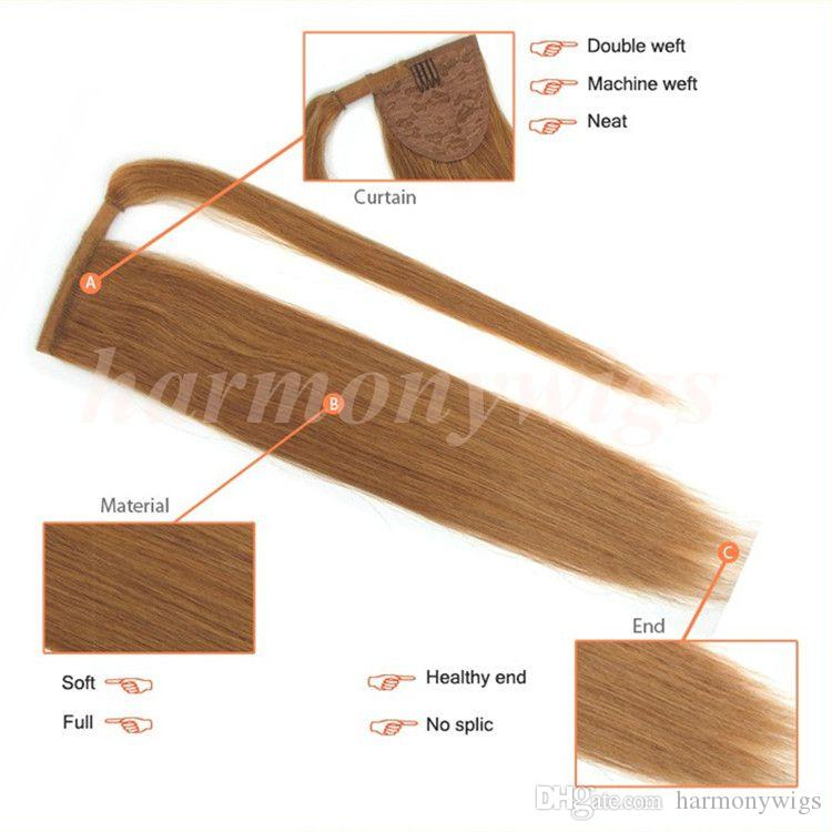 Cheveux brésiliens Ponytail Ponytails de cheveux humains 20 22 pouces 100g Droite Indien Clip Extensions de Cheveux plus de couleur