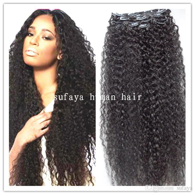 Brazilian Virgin Curly Hair Weft Clip in Kinky Curl Weaves ...