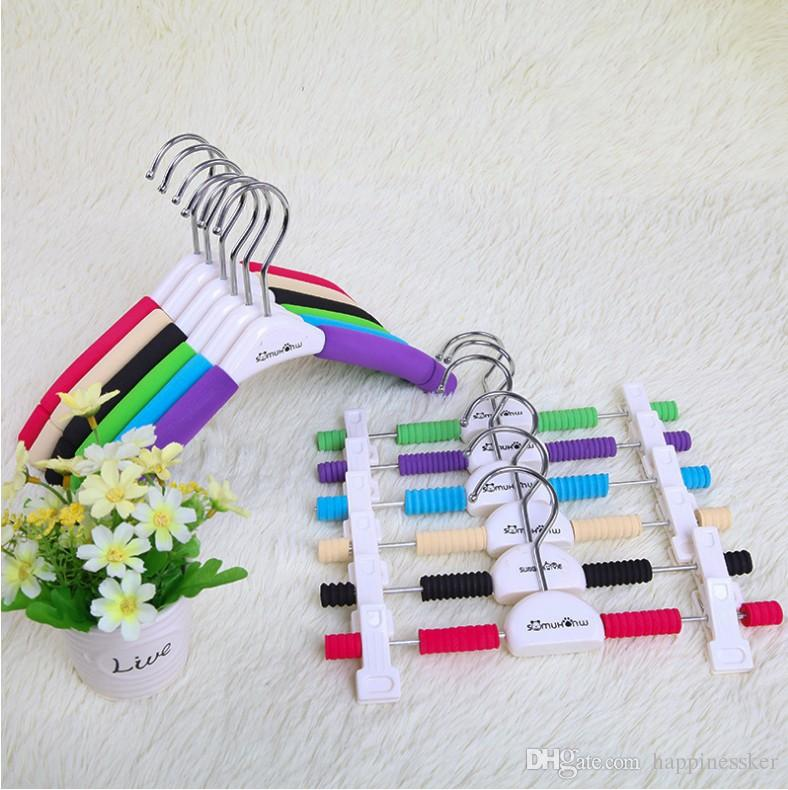 Children's Style, Colorful Satin Padded Skirt Pants Hangers With plastic clips