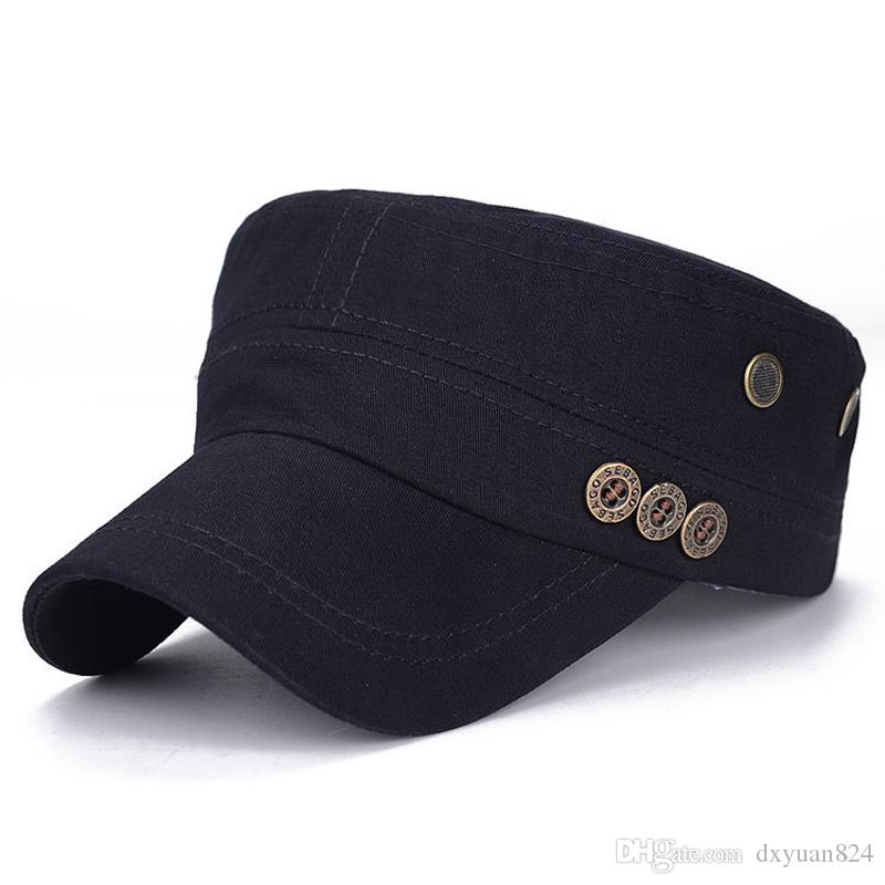 38a8a3061be Classic Flat Top Twill Corps Caps Adjustable Army Military Cadet Hats Solid  Color Cotton Peaked Baseball Hat Mens Womens Unisex Canada 2019 From  Dxyuan824