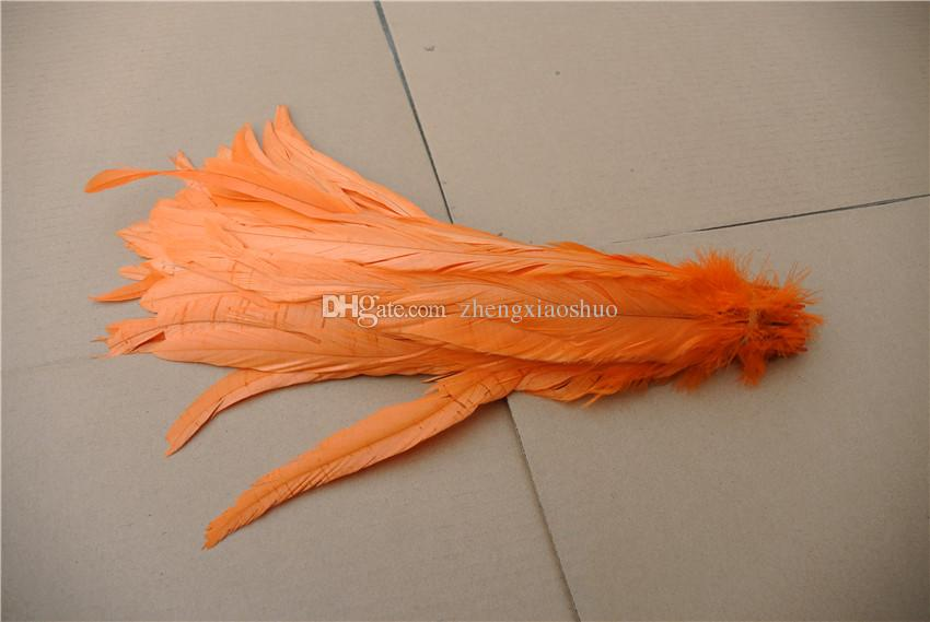 Wholesale 12-14inch30-35cm orange Rooster cock coque tail feather for costume hat decor