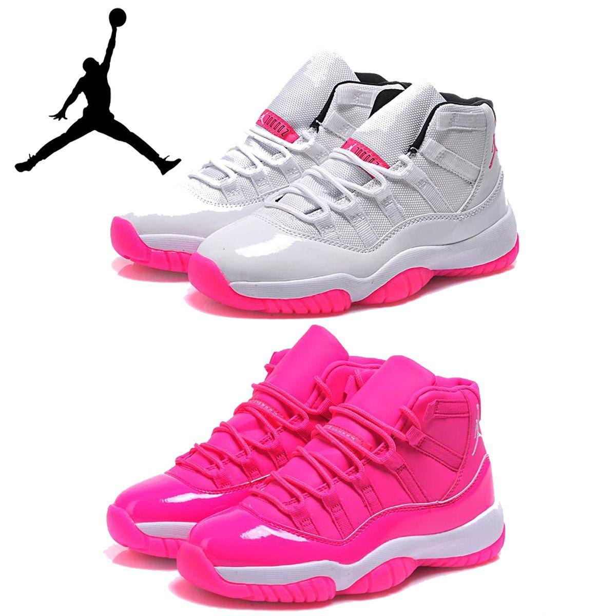 detailed look d900b 637f9 Compre Señora Nike Air Jordan 11 Zapatos De Baloncesto Para Mujer Retros Xi  Color De Rosa Caliente Del Zapato De Baloncesto De Chicas Calzado Deportivo  Gris ...