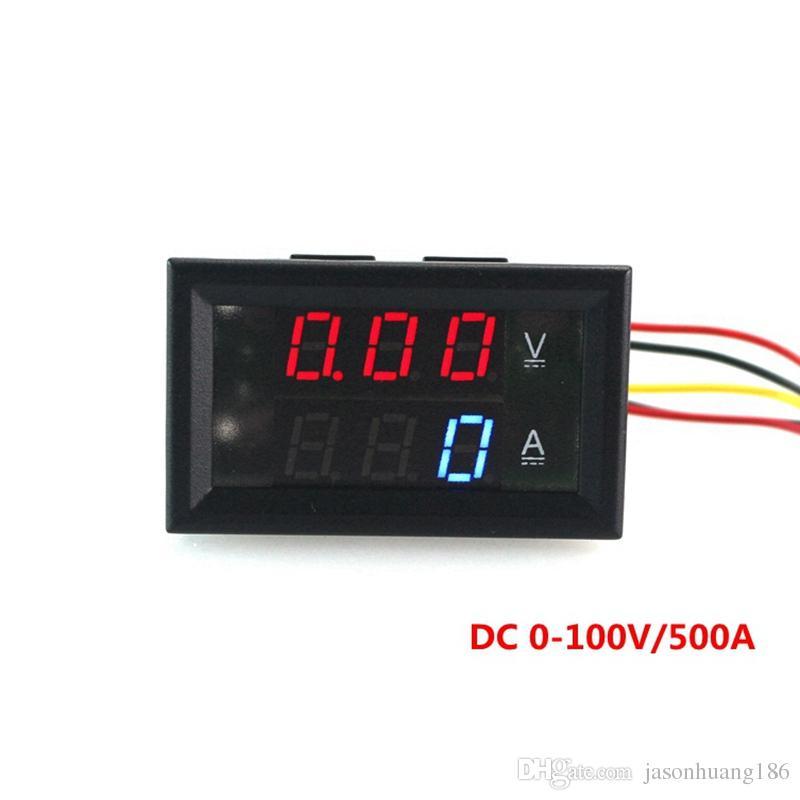 DC 0-100V / 500A Digital AMP / Volt Meter DC 0-100V / 500A mit zweifarbigem Anzeigespannungsstromzähler Ampermeter