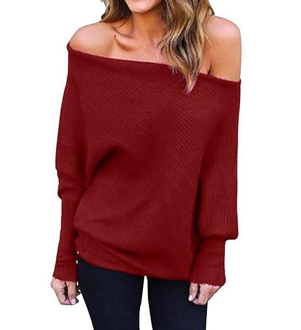 1091c3c9bc4 2019 New Women S Batwing Long Sleeve Ribbed Boat Neck Blouse Shirts Casual  Jumper Pullover From Goldenharvest