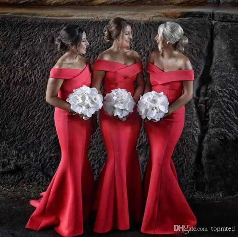 2017 красный атлас длинные Русалка невесты Платья с плеча рукавов формальные свадебные платья для гостей длина пола плюс размер фрейлина