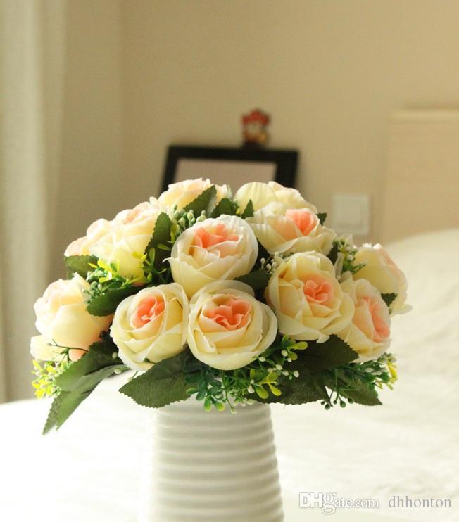Le rose di seta verdi di seta del fiore della rosa della rosa di stile della Corea nozze e la casa di decomration del fiore decorativo del partito liberano il trasporto