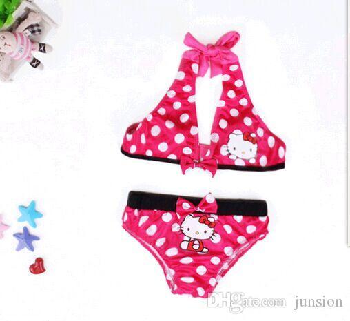 New Arriva Girls Bikini Hello Kitty Ropa de baño para niños Traje de dos piezas Ropa de baño para niños Ropa de baño Ropa de baño Ropa linda para bebé