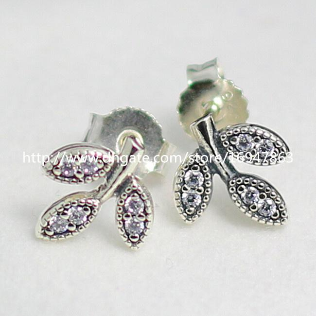 High-quality New 100% S925 Sterling Silver Stud Earrings European Pandora Style Jewelry Earrings Sparkling Leaves with CZ Stud Earrings