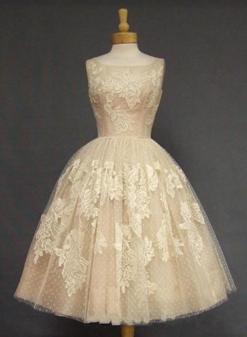 Compre Vintage Manchado Té De Longitud Vestido De Novia Bateau ...