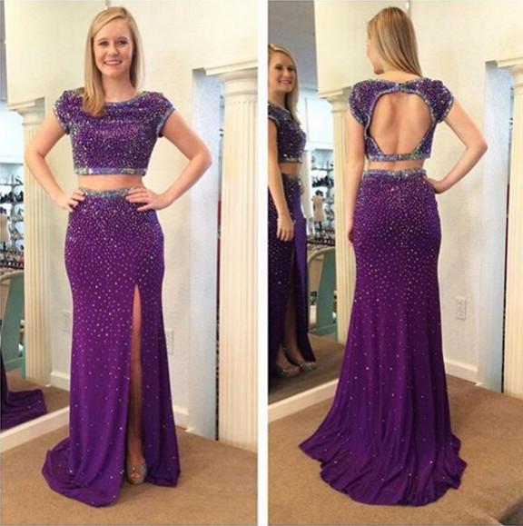 Großhandel Atemberaubende Perlen Sequins Lila Prom Kleider ...