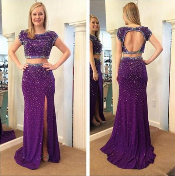 Stunning Beading Sequins Purple Prom Dresses Cut Out Backless Side Split Sheath Party Gowns 2016 Summer Two Pieces Prom Gowns