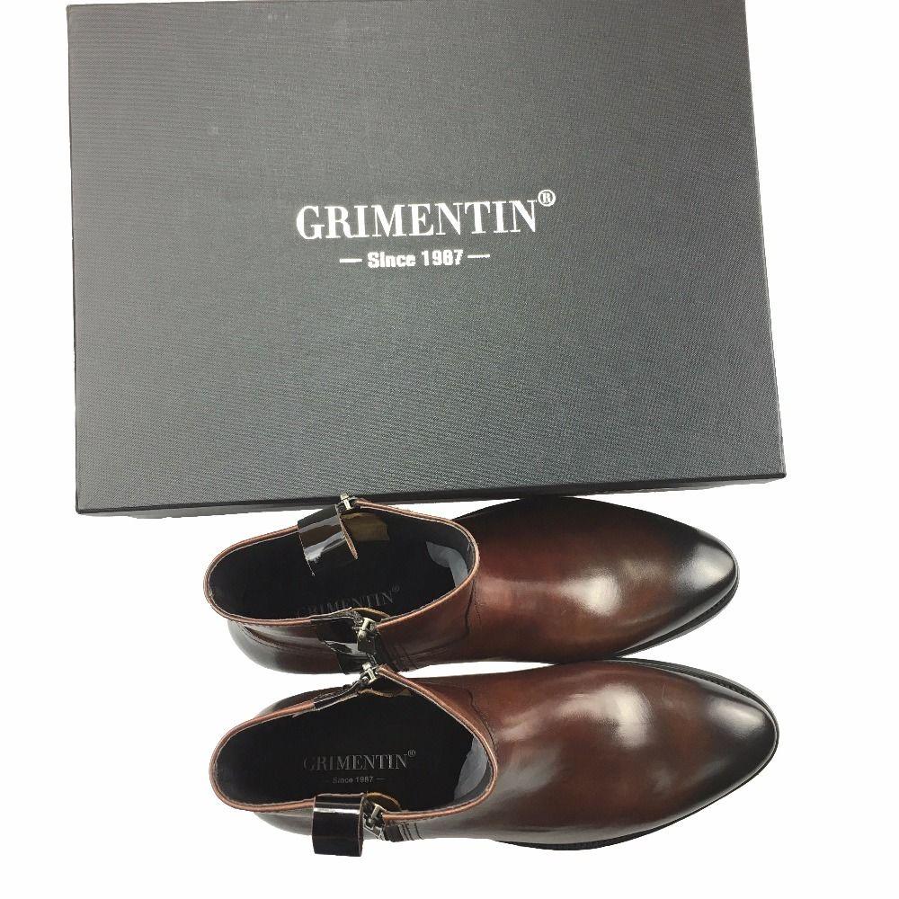 GRIMENTIN Marca de venta caliente para hombre botines moda italiana zip cuero genuino negro marrón formal de negocios vestido para hombre botas para hombre zapatos