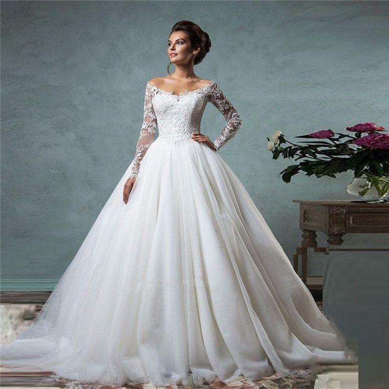 Discount Amelia Sposa Lace A Line Wedding Dresses Long Sleeve
