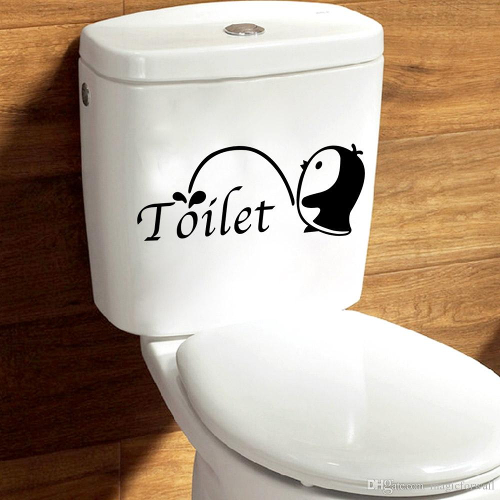 little penguin with toliet washing room decoration decal cute