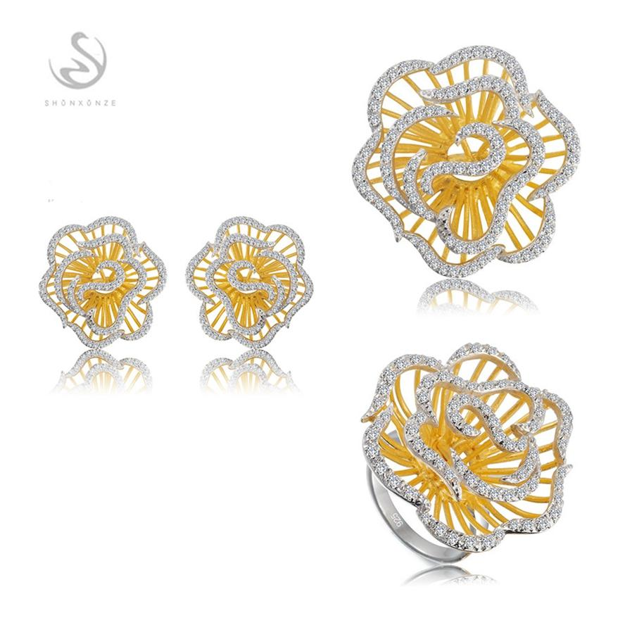 Punk Noble Generous S-White Cubic Zirconia Vintage Rose gold plated 925 sterling silver Promotion heart set ring/earring/pendant