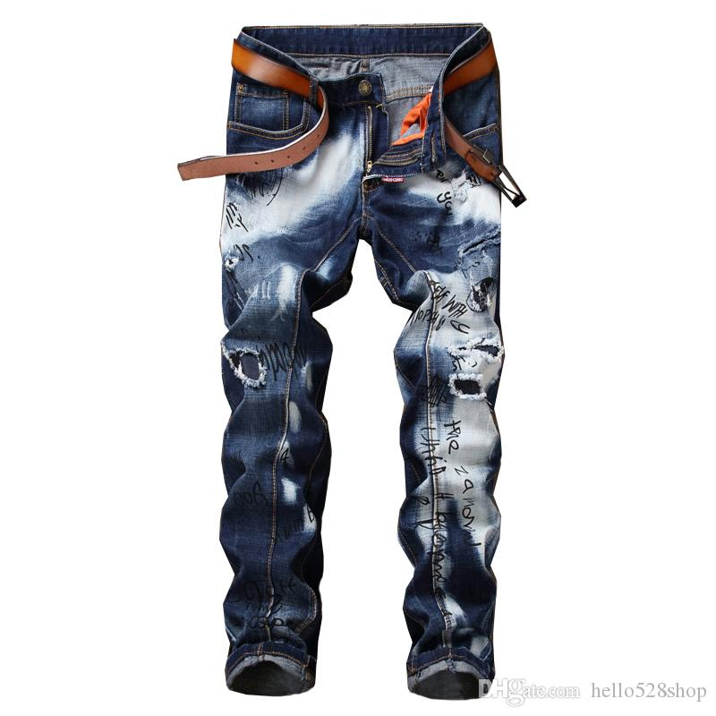 d8c8cb298fc 2019 New Hole Stitching Men S Printed Jeans Straight Beggar Pants Trend  Special Blue And White Color Design Jean Casual Pant From Hello528shop